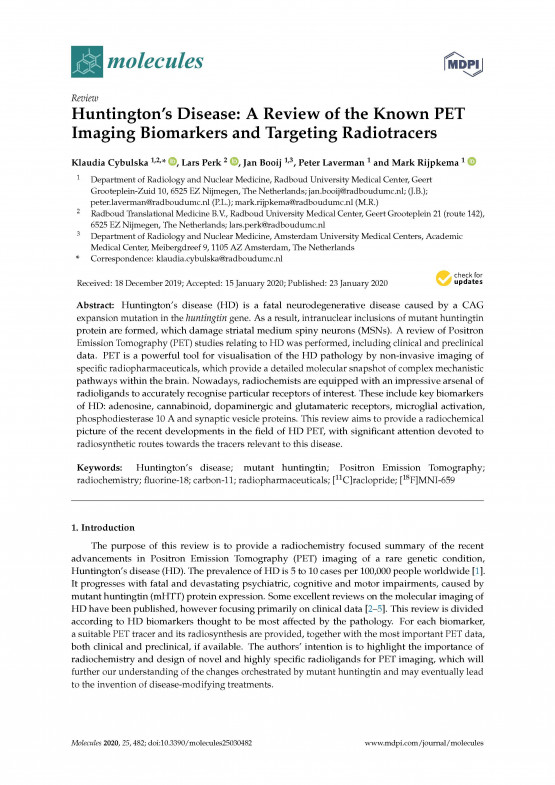 Huntington's Disease: A Review of the Known PET Imaging Biomarkers and Targeting Radiotracers